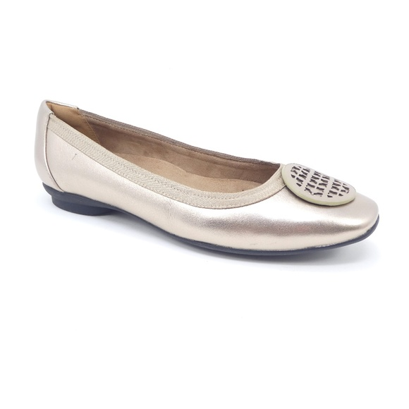 06a3c0a1614d Clarks Candra Blush Gold Leather Ballet Flats